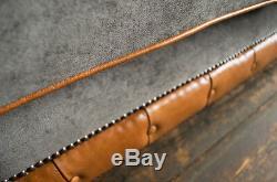 Modern Slate Grey Velvet & Vintage Tan Leather 1.5 Seater Chesterfield Snuggle