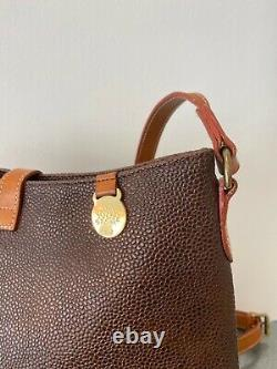 Mulberry Vintage Medium Size Brown and Tan Scotchgrain and Leather Shoulder Bag