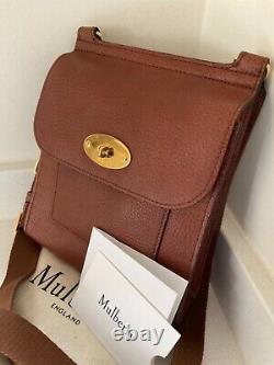 Mulberry oak grained veg tanned leather small Antony crossbody shoulder bag