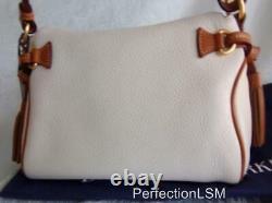 NWT Vintage DOONEY & BOURKE Florentine & All Weather Leather Zip Hobo White/Tan