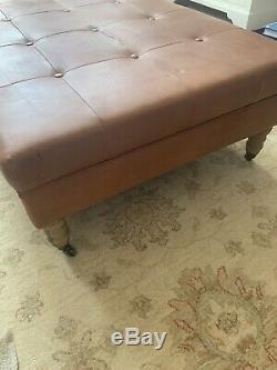 Neptune Arthur Footstool, Large, Tan Leather, Vintage Oak Legs