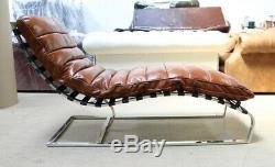 New Bilbao Chaise Lounge Loungue Daybed Vintage Tan Leather