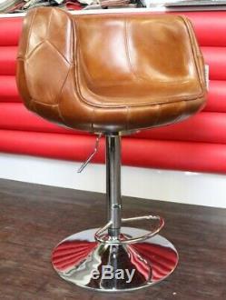 New Grande Vintage Distressed Tan Brown Leather Kitchen Barstool