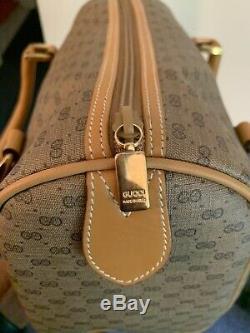 New Vintage Beige / Tan Gucci Satchel Monogram Leather Coated Canvas Handbag