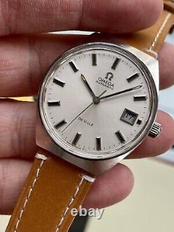 Omega Automatic De Ville Steel Mens Vintage Steel Tan leather 1970s watch