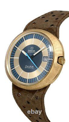 Omega Dynamic Circa 1969 Vintage Blue/Gold Auto Leather Men's Watch 166.039