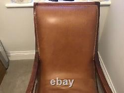 Pair Of Handmade Vintage Tan Brown Leather Arm Chairs High Back