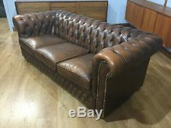 Pair Of Vintage Tan Leather Three Seater Chesterfield Settee Sofa