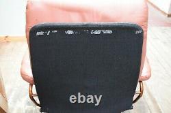 Pair Vintage Ekornes Stressless Tan Leather Reclining Chairs & Footstools