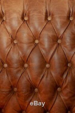 Pair of Chesterfield Queen Anne High Back Wing Chairs in Vintage Tan Leather