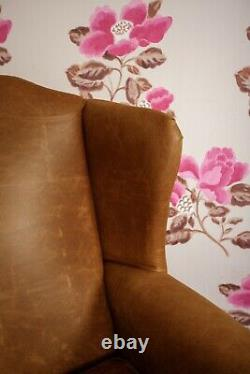 Pair of Chesterfield Queen Anne Wing Chairs & Footstool in Vintage Tan Leather