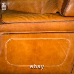 Pair of Vintage Italian Tanned Leather Armchairs