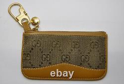 RARE Vintage GUCCI Tan /Brown Leather GG Supreme Zip Change / Card Wallet Unisex