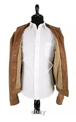 Ralph Lauren RRL Vintage Tan Leather Jacket Large Trucker Polo Rugby