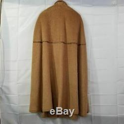 Rare Beltrami Vintage Mohair Wool Poncho Cape Cloak Tan With Leather Trim