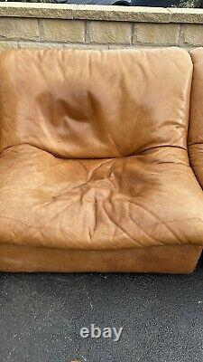 Rare Halo Vintage De Sede Style 4 Piece Sectional Leather Tan Corner Sofa