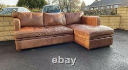 Rare Halo Vintage Tan Leather Corner Sofa 3 Seater Storage