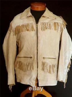Rare Vintage 1950's-1960's Custom Tan Deerskin Western Fringe Jacket Size Medium