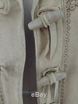 Rare Vintage Ralph Lauren Tan Leather Floral American Flag Beaded Jacket Coat