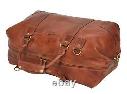 Real Leather Holdall Vintage Tan Luxury Travel Duffle Bag Gym Weekend Cabin Bag