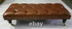 Rectangular Chesterfield Footstool Vintage Tan Leather
