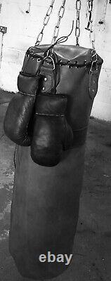 Retro Reborn Vintage Tan Leather 3ft Boxing bag / punch bag + Gloves Focus Pads