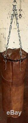 Retro Reborn Vintage Tan Leather 4ft Boxing bag / punch bag unfilled with chains