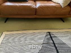 Retro Style Tan Leather Sofa Excellent Condition