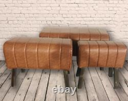 Retro Tan Brown Vintage Style Pommel Horse Faux Leather Foot Stool Seat Chair