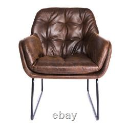 Retro Tan Distressed Leather Armchair Buttoned Tub Sofa Padded Seat Accent Chair