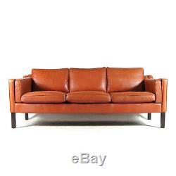 Retro Vintage Danish Leather 3 Seat Seater Sofa 60s 70s Mid Century Mogensen Tan