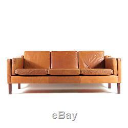 Retro Vintage Danish Tan Leather 3 Seat Seater Sofa 1960s Mogensen 70s Teak