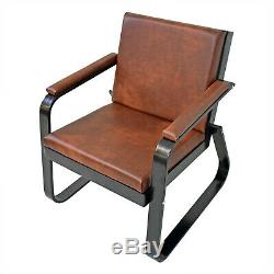 Retro Vintage Distressed Leather Tan Armchair Sofa Accent Chair Seat Bench 3 + 1