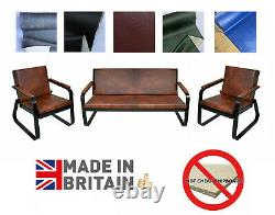 Retro Vintage Distressed PU Leather Armchair Sofa Accent Chair Cafe Seat Bench