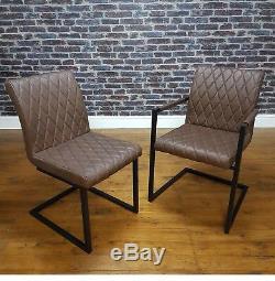Retro Vintage Leather Metal Frame Cantilever Industrial Dining Carver Side Chair