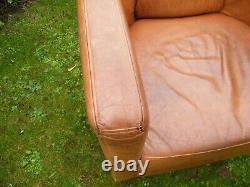 Rocket Aviator Tan Real Leather Tub Chair arm chair. Retro, vintage 2