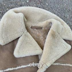 SAWYER Vtg Tan Suede Shearling Marlboro Man Sherpa Rancher Coat, Mens LARGE 44