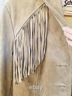 SCHOTT NYC Vintage Western Suede Leather Fringe Jacket Tan Size 18 Hippie 70s