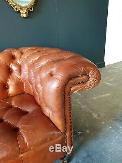 SUPERB! Chesterfield Leather Vintage 3 Seater Club Tan Brown Sofa DELIVERY