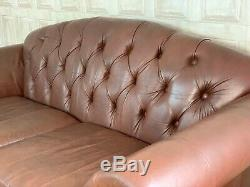 SUPERB Vintage 2-3 Seater Chesterfield Sofa Tan Brown Leather £65 DELIVERY