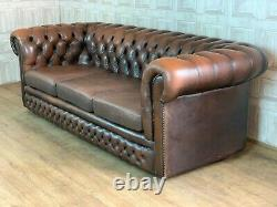 SUPERB Vintage Tan Brown Leather Chesterfield Sofa 3 Seater £80 DELIVERY