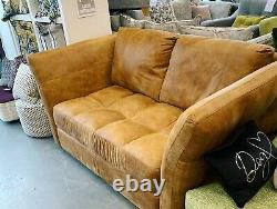 Sardinia 2 seater high arm sofa in tan distressed vintage leather