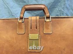 Schlesinger Vintage British Tan Belting Leather Lawyer Doctor Briefcase