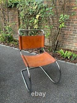 Set of 5 Chrome Cantilever Chairs, 1970s vintage tan leather back & seat