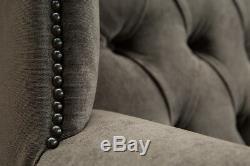 Slate Grey Velvet & Vintage Tan Leather High Back Chesterfield, Wing Chair
