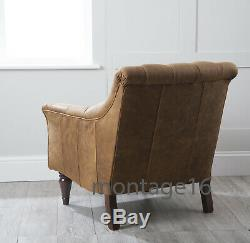 Stirling Tan Leather Button Back Seat Armchair Chair