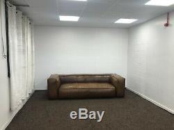Stratford Large 4 Seater Vintage Leather Sofa In Tan/brown Rrp £1999.99