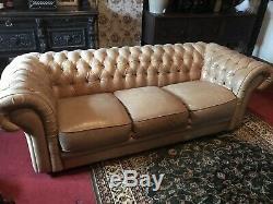 Stunning Designer Light Tan Leather 3 Seater Chesterfield Sofa