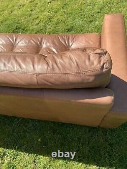 Stunning Retro Vintage Distressed Danish Design Leather 3 Seat Seater Sofa Tan