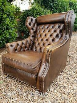 Stunning Vintage Retro Tan Leather Chesterfield Wingback Armchair 1970s